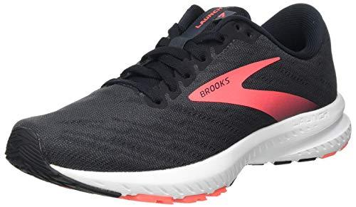 Brooks Women's Launch 7 Running Shoe, Ebony Black Coral, 7.5