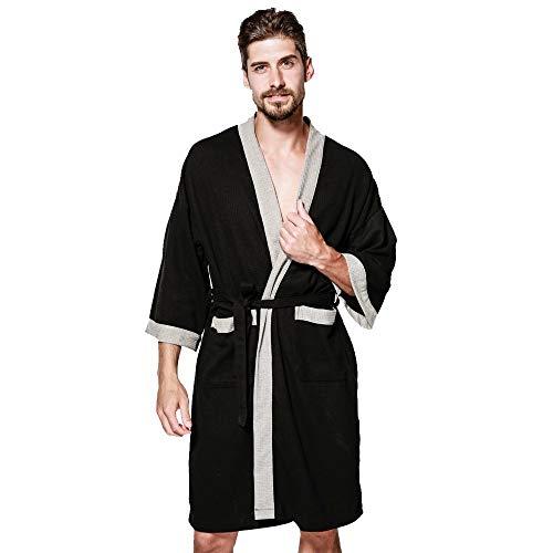 MRULIC Herren Morgenmantel 3/4 Ärmel Bademantel Kimono Baumwolle Saunamantel Robe Negligee Mit V-Ausschnitt Gürtel(Schwarz,L)