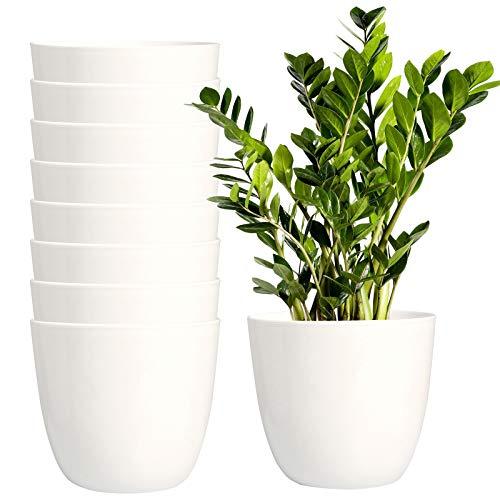 Youngever 8 Stück 14 cm Kunststoff-Pflanzgefäße für den Innenbereich, moderner dekorativer Garten-Topf mit Drainage für alle Zimmerpflanzen, Blumen, Kräuter, Sukkulenten und Hängepflanzen (weiß)