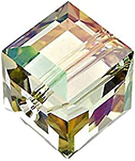 Wholesale Genuine Swarovski 5601 4mm Crystal Luminous Green Cube Beads, Choose Package Size (24)
