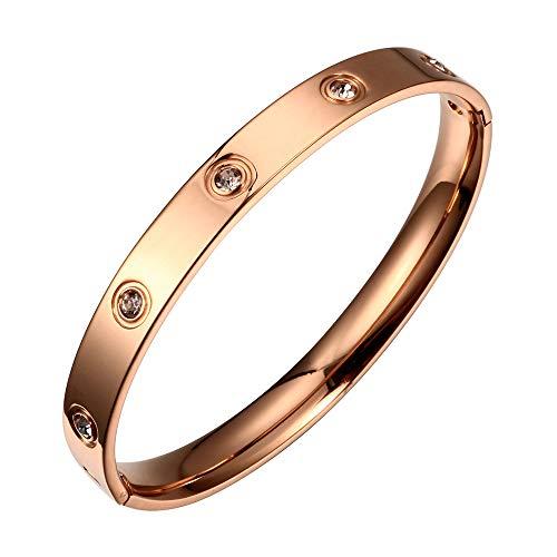 Bracciale in acciaio al titanio, oro rosa, con cristalli Swarovski