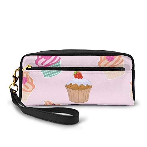 Tragbares PU-Leder-Federmäppchen – Blumenmuster Ice Kosmetik Make-up Tasche – Mode Schule Stiftehalter mit Reißverschluss Einheitsgröße Torte mit Blumenmuster