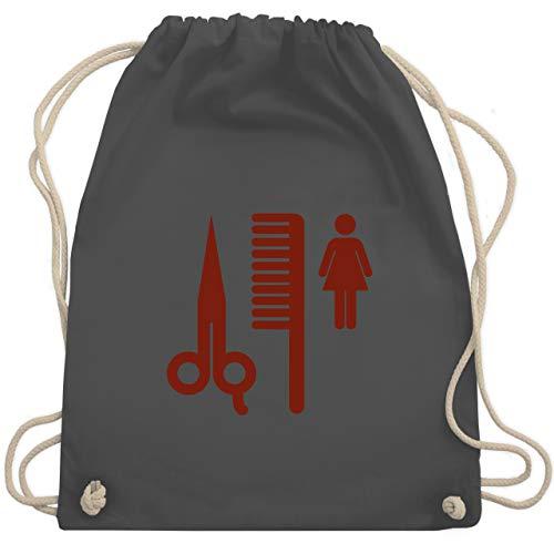 Shirtracer Handwerk - Friseurin Piktogramm rot - Unisize - Dunkelgrau - Frau - WM110 - Turnbeutel und Stoffbeutel aus Baumwolle