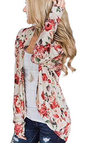 ECOWISH Womens Boho Irregular Long Sleeve Wrap Kimono Cardigans Casual Coverup Coat Tops Outwear Crescent White X-Large