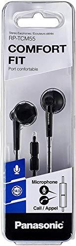 Panasonic RP-TCM55E-K - Auriculares Boton con Cable y Micrófono In-Ear (Headphone Sonido Estéreo para Móvil, MP3/MP4, Control Remoto, Diseño de Ajuste Cómodo, Imán Neodimio, 10hz y 25kHz), Color Negro
