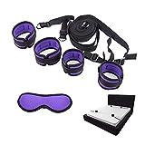 Ensemble de sangles fixes de luxe avec manchettes confortables et douillettes pour jeu de chambre à coucher, comprenant 1 masque pour les yeux (violet)