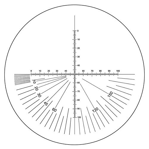 BoliOptics Microscope Eyepiece Reticle Cross Line Micrometer Ruler, 180° Angle, Dual Axis Crosshair Scale Dia. 22mm, 10mm/100 Div. RT20121141