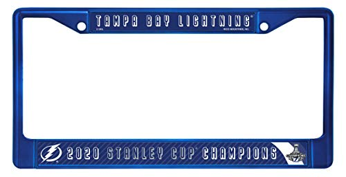 Rico Tampa Bay Lightning NHL 2020 Stanley Cup Champions Blue Metal License Plate Frame with 2 Mount Holes