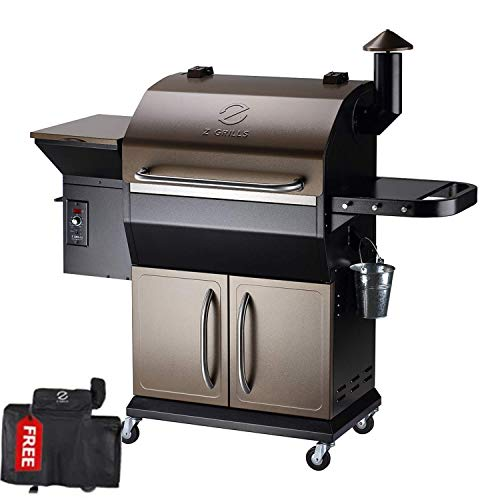 Z GRILLS Wood Pellet Grill Smoker with Ash Clean System for Outdoor Cooking + Cover, 2020 Upgrade, 1000 SQIN,8-in-1 (Brown with Cabinet)