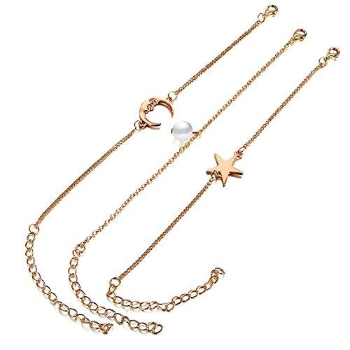 AIUIN Enkelbandje van zilver, hanger maan, parel en pentagram, enkelbandje voor dames, sieraden (met sieradenzakje)