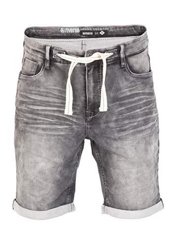 riverso - Pantalones Vaqueros Cortos de Verano para Hombre RIVFred, Bermudas elásticas de algodón, Color Negro, Gris, Azul, Azul Oscuro, Tallas: w30 - w42 Gris Medio (G37). 38W