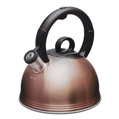 Copco Stainless Steel 2.1 Quart Whistling Tea Kettle, Glossy Copper Finish