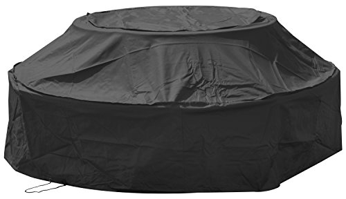 Woodside 8 Seater Black Round Outdoor Garden Picnic Table Cover 1.15m-1.8m x 0.5m-0.76m/3.8ft-5.9ft x 1.6ft-2.5ft