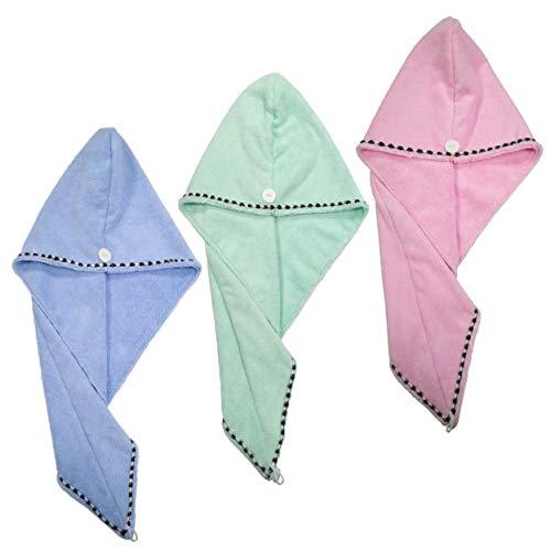 Scopri offerta per Polyte - asciugamano a turbante per asciugare i capelli - azzurro, verde, rosa - 25 x 66 cm - 3 pezzi