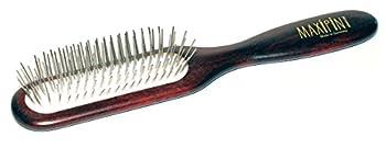 Brosse à poils de chien Maxipins advanced narrow, avec épingles en métal comprimé de 20 mm de long, en bois de palissandre teinté, aux chats et autres animaux de compagnie, env. 21 x 4 cm