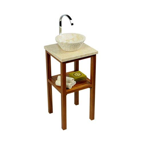 wohnfreuden Teakholz Waschtisch Unterschrank mit Waschtischplatte Creme aus Flußstein 40x40x77 cm für Bad Gäste WC