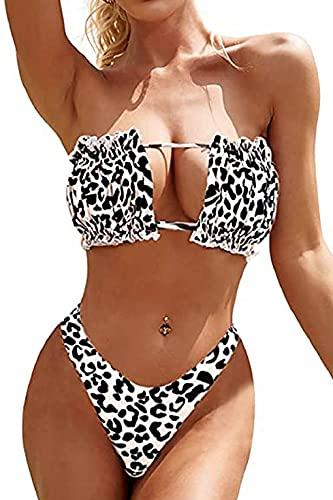 CMTOP Set Bikini da Donna Fascia Senza Spalline con Coulisse e Costumi da Bagno in Tinta Unita con Rouches Set Bikini a Fascia Costume da Bagno Bikini Imbottitura a Costine con Stampa Floreale