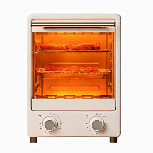ASKLKD Mini Horno Horno Multifuncional Horno eléctrico 12L Capacidad Grande 60 Minutos Temporizador 900W 100 ° C-230 ° C Control de Temperatura Pan Hornear Herramientas de Cocina Blanco