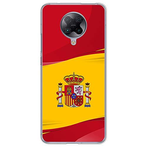 BJJ SHOP Funda Transparente para [ Xiaomi Poco F2 Pro/Xiaomi Redmi K30 Pro ], Carcasa de Silicona Flexible TPU, diseño : Bandera de España