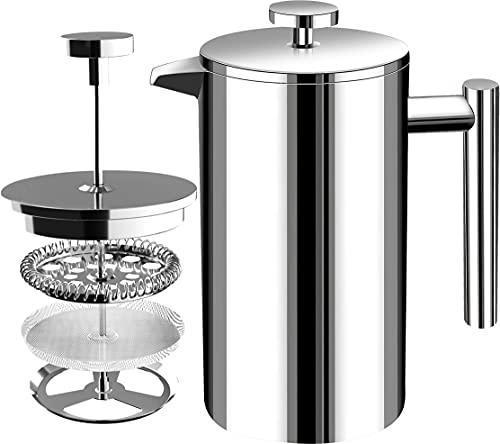 KICHLY - (1 L/ 1000 ml) 32 oz 8 tazze francese frullatore a doppio muro di espresso e creatore di tè In acciaio inox