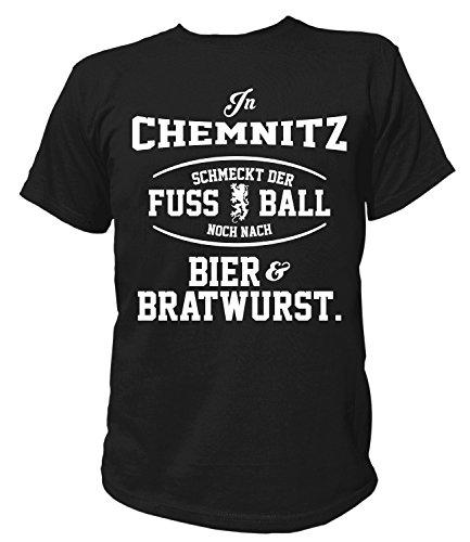 Artdiktat Herren T-Shirt - In Chemnitz schmeckt der Fußball noch nach Bier und Bratwurst Größe L, schwarz