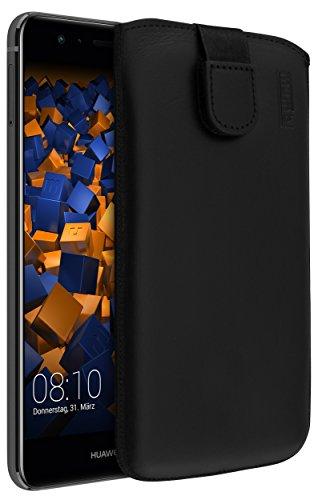 mumbi Echt Ledertasche kompatibel mit Huawei P10 lite Hülle Leder Tasche Case Wallet, schwarz