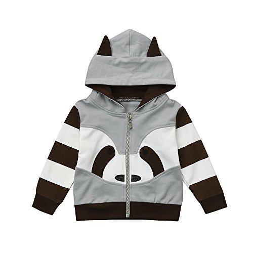 Yanhoo-Kinder Sweatjacke Herbst Winter Mit Kapuze Jungen Mädchen Langarm Netter Waschbär Kapuzenpullover Mantel Jacke Windjacke Outwear