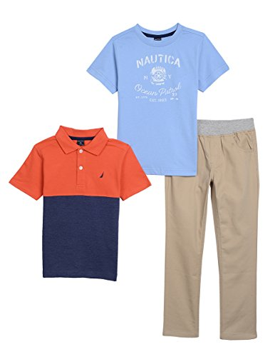 Nautica Baby Boys' Short Sleeve Polo, Tee, and Twill Pant Set, Firework, 24 Months