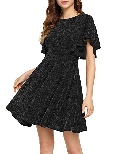 Romwe Women's Stretchy A Line Swing Flared Skater Cocktail Party Dress Black# M