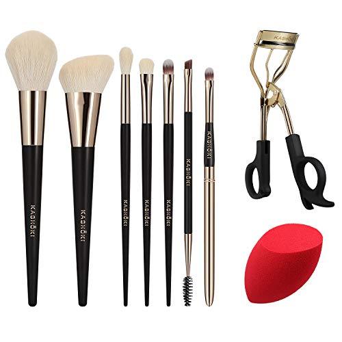 T4B KASHOKI Himawari Set 9 Pcs Pinceaux Maquillage Avec 1 Recourbe Cils Et 1 Eponge