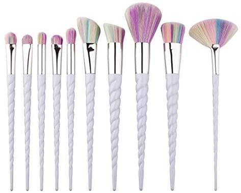 NVT Unicorn Rainbow Makeup Brush Set Foundation Sombra de Ojos Blusher Contour 10PC Set