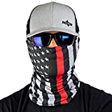 Hoo-Rag - High Performance 100% Moisture Wicking Polyester Microfiber Multi-Functional Face Mask & Neck Cover - UPF 30 - One Size Fits Most - Thin Red Line American Flag