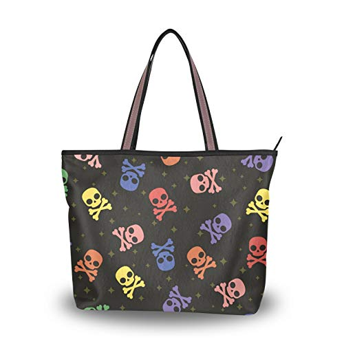 Handbags Tote Bag Shoulder Bags Light Weight Strap for Women Girls Ladies Student Purse Shopping Colored Skull Sweet Candy