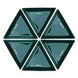 (6 PCS) Triangular Caramelo Plato, Plato de Porcelana Verde, Proceso Seguro vidriado Color, Brillante y Suave, Usado for Snacks Clasificación y visualización