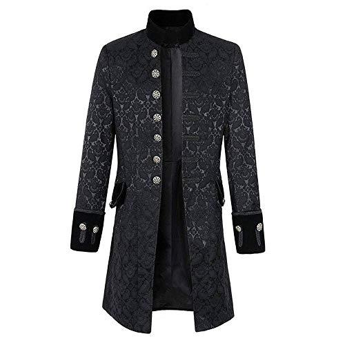 Lannister Herren Kostüm Mantel Frack Gehrock Festlich Jacke Bekleidung Uniform Gothic Kostüm Party Oberbekleidung Tunika Outwear Mantel (Color : Schwarz, Size : 2XL)