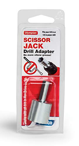 """Camco RV Leveling Scissor Jack Socket Drill Adapter, Fits 3/8"""" and 1/2"""" Power Drills, Works with All 3/4"""" Hex Drive Jacks (57363)"""