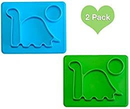 Dinosaur Kids Plates Mini PBA Free Microwave Safe Divided Dino Plate. Great for Baby Food, Toddlers Learning to eat. Fits Most highchairs, Small for Easy Travel. by Lilly's Love (Blue Green)