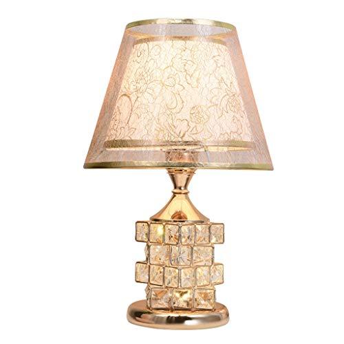 YVAN Lámpara de mesa de cristal nórdico, pantalla de dos capas de tejido con regulador de intensidad giratorio, lámpara de escritorio para salón y dormitorio, 16 pulgadas, clásica
