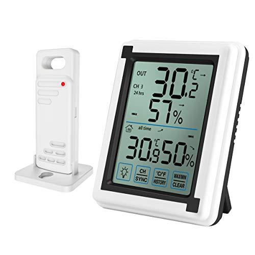 ORIA デジタル温湿度計 外気温度計 温度湿度計 ワイヤレス 室外 室内 一つセンサー 高精度 LCD大画面 バックライト機能 付き置き掛け両用 最高最低温湿度/快適レベル/温度と湿度傾向図表示 温室 温度管理 健康管理 見やすい おしゃれ ホワイト