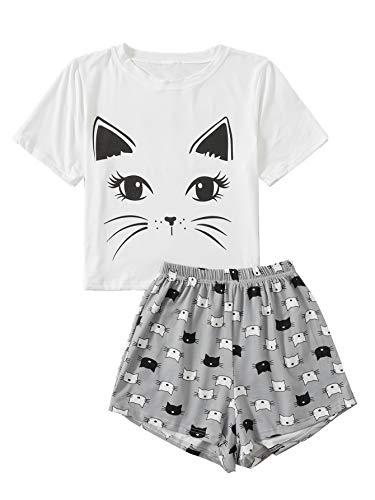 DIDK Damen Pyjama Set Avocad Top und Polka Dot Short Hose Zweiteiliger Schlafanzug Katze-Grau XS