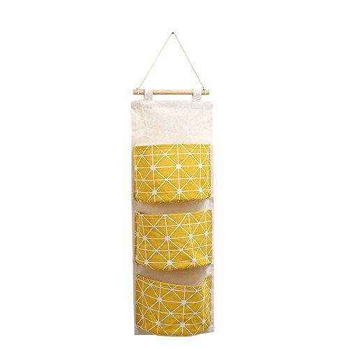 Bluelans® Sac de rangement lin/en coton à suspendre pour porte de placard avec 3 poches