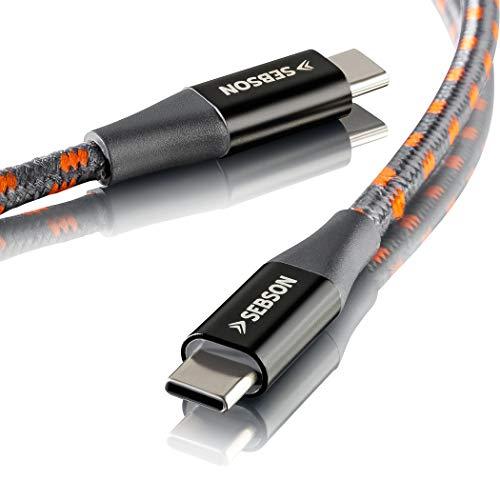 SEBSON USB C Kabel auf USB C, unterstützt 3.1 Gen1, Datenkabel geflochten 1m, Ladekabel/Datenkabel für Samsung Galaxy, Huawei, Sony, Nokia