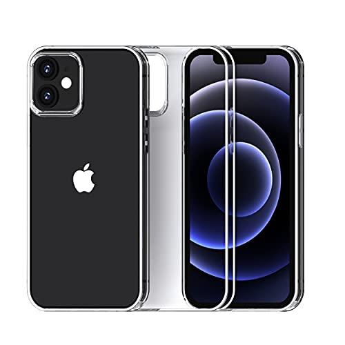 PHANTOM PACT Funda transparente compatible con iPhone 13 Mini, parte trasera de policarbonato duro y carcasa de TPU suave, extremadamente transparente (no amarillea), fuerte resistencia a los golpes.