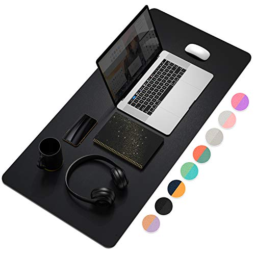 """YSAGi Multifunctional Office Desk Pad, Ultra Thin Waterproof PU Leather Mouse Pad, Dual Use Desk Writing Mat for Office/Home (35.4"""" x 17"""", Black)"""