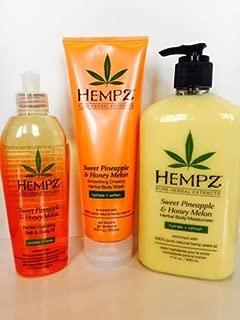 HEMPZ SWEET PINEAPPLE & HONEY MELON BODY MOISTURIZER LOTION, WASH & OIL SET