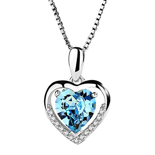 Danbai Silver Plated Necklace Eternal Heart Pendant Female Blue Crystal Love Necklet Fashion Clavicle Chain For Woman