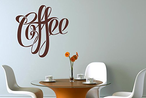 Fancy Script Coffee Sign Wall Stickers And Art Decals -...