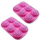 2-er Silikon-Form Rose Blume Clay Seife Form Fondant, zum Backen und Basteln für Kuchen, Muffins,...
