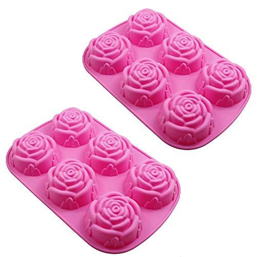 gotyou 3PCS 6 cavità Rose Silicone Soap Moulds Fiore di Rosa in Silicone Vassoio Stampi per Muffin Cake Mooncake, pentole a Forma di Fiore,Fare Biscotti al budino di Gelatina Cioccolatini Artigianali