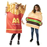 Classic Burger & Fries Couples Halloween Costume - Unisex Funny Food Party Suit
